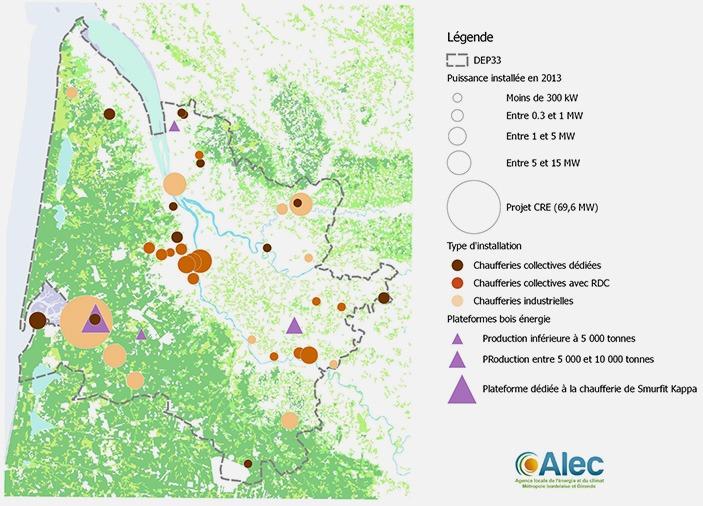 Alec - Les installations de chaufferie bois recensées par l'Alec en Gironde